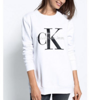 """Calvin Klein"" Printed Womens Casual Long Sleeve Pullovers Sweaters White"