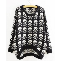 Wholesale Skulls Print Asymmetrical Hem Long Sleeve Round Collar Sweater For Women (BLACK,ONE SIZE), Sweater & Cardigan - Rosewholesale.com