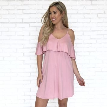 Creme De La Creme Cold Shoulder Ruffle Dress