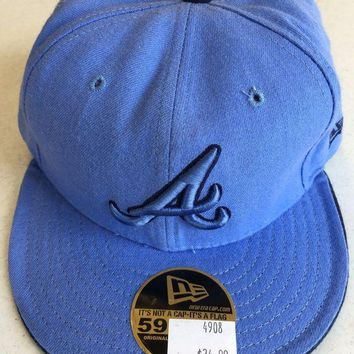 CUPUPI8 ATLANTA BRAVES MLB NEW ERA 5950 SKY BLUE FITTED HAT