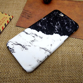 Black White Patchwork Marble Case Cover for iPhone 7 7 Plus - iPhone 5s se - iPhone 6 6s Plus + Gift Box