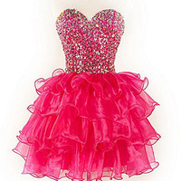 Sweetheart Rhinestone Corset Ruffle Prom Dress/Homecoming dress