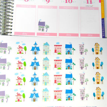 Cute Cartoon House Planner Stickers For Your Erin Condren Life Planner