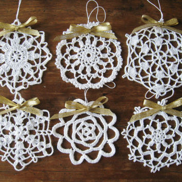 Crochet White Snowflake Ornaments Wall Hanging Home Decor Modern Wall Art Christmas Decorations
