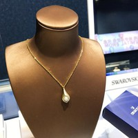 HCXX 19July 378 Swarovski new golden drop necklace MODEST gold with diamond clavicle chain 5432371