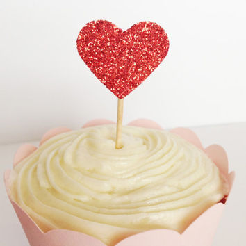 12 Red Glitter Heart Cupcake Toppers - Birthdays, Parties, Weddings, Decoration