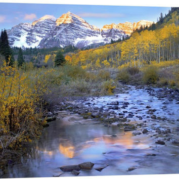 Maroon Bells and Maroon Creek in Autumn