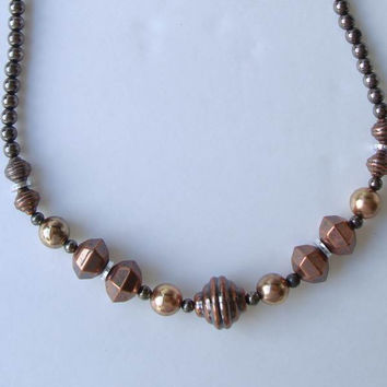 Acrylic Copper Plated Art Deco Style Necklace Vintage Jewelry