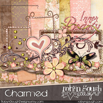 Digital Scrapbook Kit Clipart - Pink Shabby Chic - Charmed
