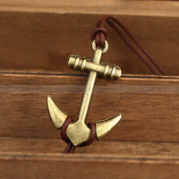 Vintage style anchor charm bracelet with leather anchor by mosnos