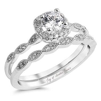 A Perfect .95CT Round Cut Russian Lab Diamond Halo Bridal Set Wedding Band Ring