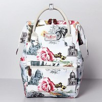 Korea Style garden floral Canvas Backpack Bag Large Capacity Female Travel Bag Computer Bag Student School backpack Women Bag