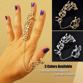 Womens Multiple Fingers Stack Knuckle Band Crystal Studded Womens Fashion Jewelry Rings