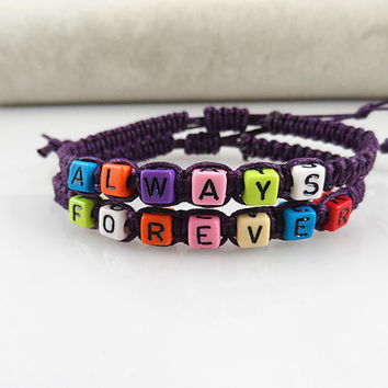 Couples Bracelets Set, Always forever Bracelets, bracelet for Couples ,Set of 2 , Personalized Jewelry , Anniversary Gifts, Bridesmaid103104