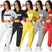 FENDI Women Casual Letter Print Short Sleeve Top Pants Two-Piece