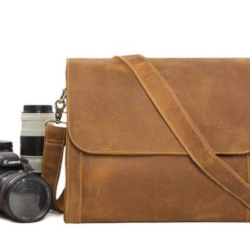 BLUESEBE UNISEX HANDMADE GENUINE LEATHER DSLR CAMERA MESSENGER BAG PD01C
