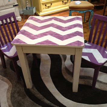 Children Table and Chairs / Painted / Shabby Chic / Upcycled / Repurposed / Distressed / Chevron / Cottage Chic / Purple / Kids