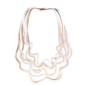 NEW! Iskin Curves Duo Large Necklace - Geometric design - Contemporary Jewelry - Two layers of leather - Laser Cut - Statement Necklace