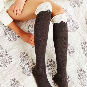Colorblock Zigzag Knee High Sock