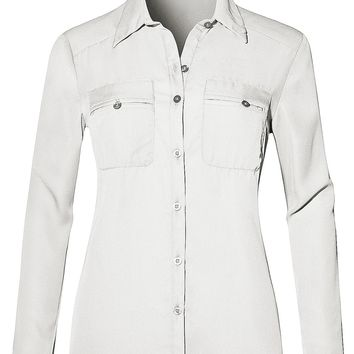 Lightweight Roll Up Long Sleeve Button Down Chiffon Shirt with Pockets