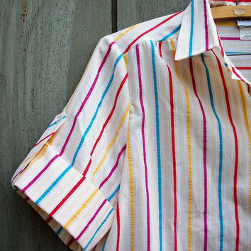 Vintage blouse - seersucker rainbow-striped camp shirt