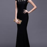 Embroidered Mesh Sheath Qipao Dress