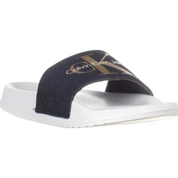 Calvin Klein Jeans Chantal Canvas Slide Flip Flops, Midnight/Gold, 6 US / 36 EU