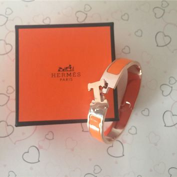 NEW Hermes H Clic Clac Narrow Bracelet PM orange Enamel Rose Gold Cuff Bangle