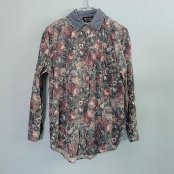 VINTAGE 90s FLORAL button up SHIRT - medium