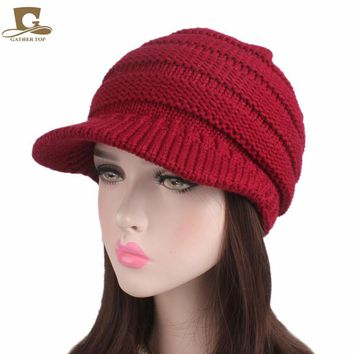 2017 new fashion Women visor knit slouchy beanie Hat pleated newsboy beret knitted cap Warm winter hat