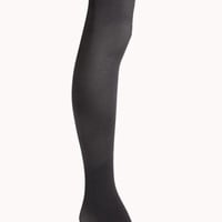 FOREVER 21 Classic Ribbed Tights Charcoal Med/Lg