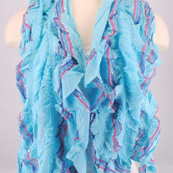 Blue Ruffle Lace Crochet Stretch Scarf Women Summer Spring Creations by Terra