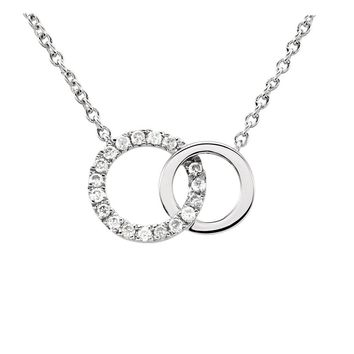 .06 Ctw Diamond Double Circle Necklace in 14k White Gold, 18 Inch