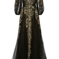Marchesa - Metallic embroidered tulle gown