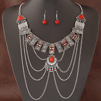 African Costume Jewelry Sets For Women Multi Chain Necklace  Ethnic Super Big Jewelry Set 2016 Indian Earing And Necklace Sets