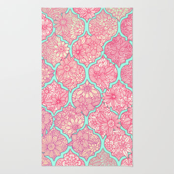Moroccan Floral Lattice Arrangement in Pinks Rug by Micklyn