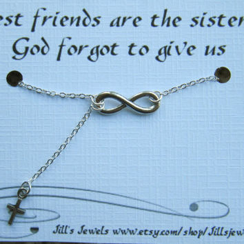 Infinity and Tiny Cross Charm Necklace and Quote Inspirational Card- Bridesmaids Gift - Friendship Necklace - Friends Forever - Quote Gift