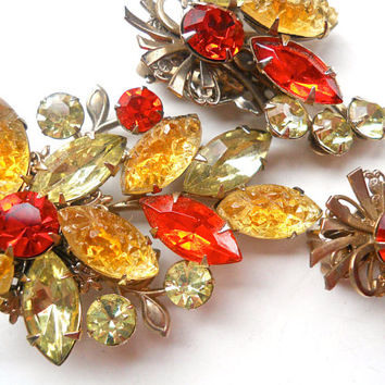 Carved Orange Yellow Glass BEAU JEWELS Brooch-Earring Set, Floral, Vintage