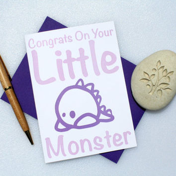 New Baby Card, Baby Congratulations Card, Funny Baby Card, Baby Shower Card, New Parents Card, Baby Boy Card, Baby Girl Card, Monster Purple