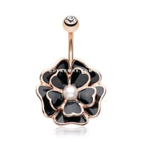 Rose Gold Black Dahlia Flower Belly Button Ring (Clear)