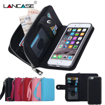 For iPhone 6S Case 2 in 1 Detachable Leather Zipper Wallet Case For iPhone 6 6S Plus 7 7 Plus 5S SE 4S Multifunction Phone Cases