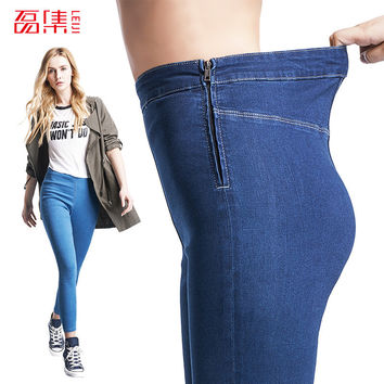 Leiji Fashion S 6XL Blue Leggings 2016 Summer Autumn High Waist Elastic plus Size women Skinny jeans Femme Capris denim pants