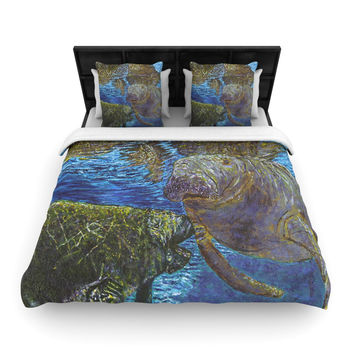 "David Joyner ""Manatees"" Blue Green Woven Duvet Cover"