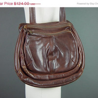 SALE 60s Dark Brown Leather Handbag Purse Pocketbook Bag Chocolate Thick Soft Quality Unusual Unique