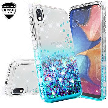 Samsung Galaxy A10e Case Liquid Glitter Phone Case Waterfall Floating Quicksand Bling Sparkle Cute Protective Girls Women Cover for Samsung Galaxy A10e W/Temper Glass- Teal
