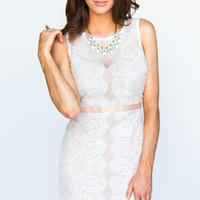 Evana Bodycon White Lace Dress