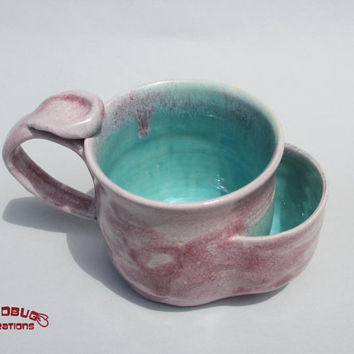 Teabag Mug - Pink and Seafoam