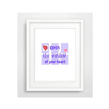 Original Open The Window Of Your Heart Digital Download ..for using at home for scapbooking or greeting cards