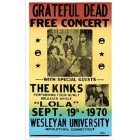 (14x22) Grateful Dead and The Kinks (Free Concert) Music Poster Print