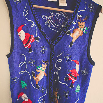 90's Cute Ugly Christmas Sweater Royal Blue Vest Santa & His Reindeer Gold Glitter Beaded Tacky Tunic Women's Large L